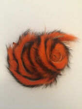 1m+ ZONKER RABBIT STRIPS TWO TONE BLACK ON ORANGE FLYNSCOTSMAN FLY TYING