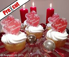 PRE-CUT MERRY CHRISTMAS HEARTS EDIBLE WAFER PAPER CUP CAKE TOPPER DECORATIONS