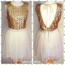 ✨��LIPSY Gold Sequin Cream Satin Mesh TUTU Net Skirt Dress UK 12 EU40 US8 FAST��