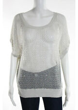 NWT VINCE Gray Netted Short Sleeved Crew Neck Sweater Top Sz M $185