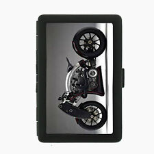 Motorcycle D4 Black Cigarette Case / Metal Wallet Speed Racing Bike