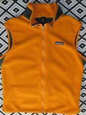 Patagonia M Fleece Vest Orange Gray Mesh Liner Cycling Back Pocket USA