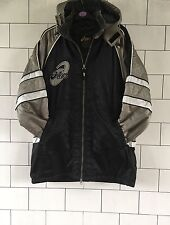 RARE OLD SCHOOL VINTAGE RETRO BLACK & SILVER ASICS FLEECE LINED JACKET COAT S