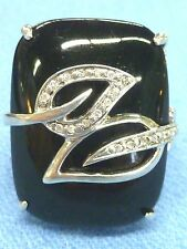 Sterling Silver Square Cushion Black Onyx Gemstone w CZ Accents Band Ring Size 5