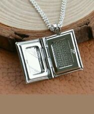 Silver Photo Album Bible Book Locket Pendant Chain Necklace