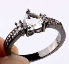 NEW Size7 love white CZ Fashion Black 18K Gold Filled Rings 2.10ct BB01