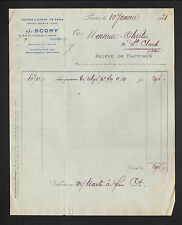 """PARIS (X° Arrt) VERRES à VITRE , DALLES , TUILES & GLACES """"J. SCORY"""" en 1921"""