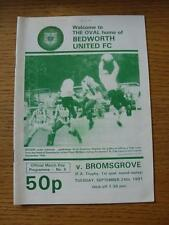 24/09/1991 Bedworth united v bromsgrove rovers [fa trophy replay] (écriture sur fr