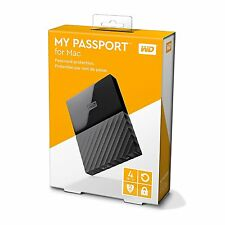 WD 4TB My Passport Portable Hard Drive For Mac - Auto Backup Password Protection