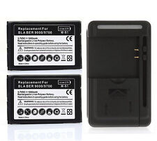 2x 1800mAh Extended Battery + Wall Charger For Blackberry Bold 9700 9780 9000