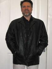 BEAUTIFUL Mens The Leather Leder Company Black Jacket Button XL heavy vintage
