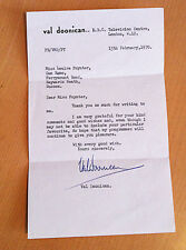 VAL DOONICAN SIGNED LETTER on Personal Headed Notepaper VINTAGE 1970