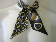 "COACH SIGNATURE BLUE/GOLD SCRIPT/""HEARTS"" NEW YORK PONY TAIL SCARF NEW TAG"