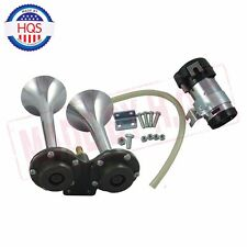 Universal 12v Dual Trumpet Air Horn Compressor Kit Train Car Truck Boat 150db