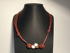 Nuevo - Collar Necklace BROWN LEATHER with PEARLS Cordon Cuero Marrón + Perlas