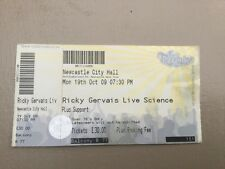 Ricky Gervais, ticket, live science tour (19th Oct 2009)