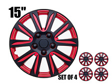"""15"""" inch Hubcaps CAR+ """"Marina Bay""""  2 tone Red and Black ABS  Set of 4 pieces"""