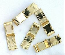 FOUR LARGE 1/2 x 1/4 INCH GOLD PLATED FOLDOVER CLASPS CF408