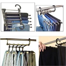 1Pcs Trousers Pants Hanger Multi-function Retractable Closet 5 in 1 New