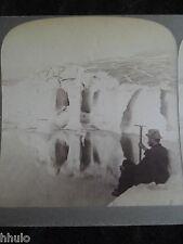 STA056 Glacier Aletsch Lac marjelen Suisse 1901 STEREO albumen Photo Stereoview