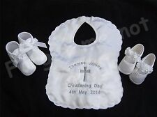 PERSONALISED EMBROIDERED BABY SATIN CHRISTENING IVORY BIB SHOE BOOTIE GIFT SET