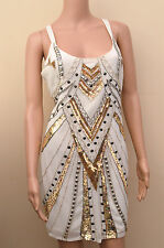 New Lipsy Cream Gold & Silver Sequin Cami Dress Sz UK 14