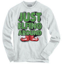 Just Elfing Ugly Christmas Sweater Funny Shirts Gift Ideas Long Sleeve Tee