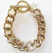 Victoria's Secret 10k Gold Plated  Chain Bracelet w Pave Crystals & Angel Wings