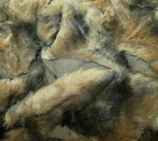 Lot of FAUX FUR FABRIC Remnants SCRAPS Mink? Bear? BROWN With Black DOLL Craft