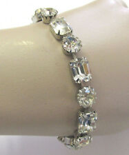 VINTAGE 1950s SIGNED WEISS CLEAR AUSTRIAN CRYSTAL BRACELET SILVER METAL FRAME