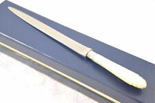 LADIES PLAIN CARVED MOTHER OF PEARL AND SILVER LETTER OPENER SHEFFIELD 1921