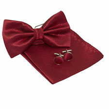 Mens Burgundy Red Squares Silk Woven Bow Tie +Hanky & Cuflinks Matching Set 156