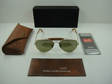RAY-BAN OUTDOORSMAN POLARIZED SUNGLASSES RB3422Q 001/M9 GOLD/GREEN LENS 58MM