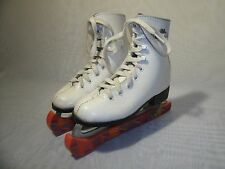 LAKE PLACID WHITE LEATHER FIGURE ICE SKATES / SIZE US 12 / EUR 30 GIRL'S