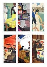 Pannelli in Tessuto x 6 Art Deco Viaggio pannelli Quilting / 100% Cotone / Appliqué ART