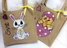 Personalised Handpainted Easter Chick Or Bunny Mini Jute Gift Bag Pink Blue Etc