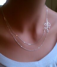 Fashion Women double Chain leaves Silver Plated Charm necklace pendant XMAS GIFT