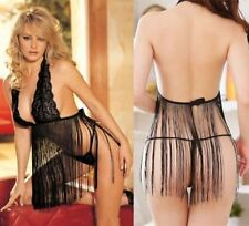 Black Lace Sleepwear With Tassles  Lingerie Night Babydoll  Dress +G-string 8-12