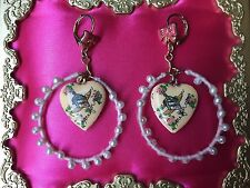 Betsey Johnson Vintage Tea Party Pink Heart Locket Rose Bud Flying Cake Earrings