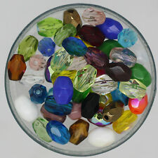 Czech Glass 6x4mm Oval Fire Polished Facet Bead Mix Assorted Colors & Finishes
