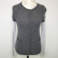 Only Mine 2-Ply 100% Cashmere Gray Color Block Ringer Cardigan Sweater Small