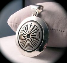 Navajo Handmade Sterling Silver Man in the Maze Pendant by Calvin Peterson
