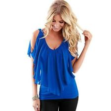 Women Summer Irregular Chiffon Blouses Off Shoulder Shirts Tops HOT