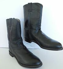 Justin Boots Mens Sz 11 EE Western Roper Farm Ranch Black Leather Cowboy Sherrif