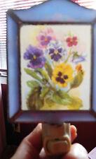 Vintage Leaded Glass Frame w Pansies Floral Night Light