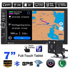 """7"""" Double 2 Din In Dash Car MP3 MP5 Radio Player GPS Nav Touch Bluetooth +Camera"""
