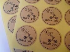 36 Kraft Thank You Stickers Sticker Envelope Seals Rustic Wedding Heart Bicycle