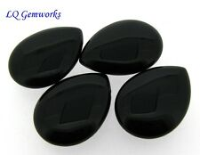 FOUR (4) BLACK ONYX 22x30mm Teardrop Pendant Beads