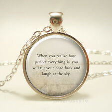 Book quote Cabochon Glass silver necklace for women men Jewelry Q#63