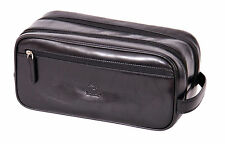 Mens real leather WASH BAG brown shaving kit toiletries cosmetic travel bag NEW